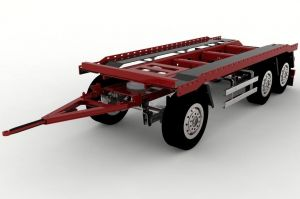 1/14 scale drawbar trailer 3axles for hooklift containers